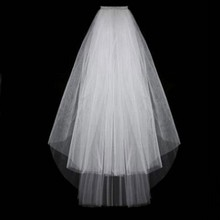 White Veil Wedding-Veils Bride Comb Short Tulle-Accessories Two-Layer with Ivory