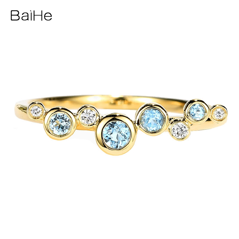 BAIHE Solid 14K Yellow Gold 0.12ct Light blue Topaz 0.03CT Natural diamonds Wedding Women Fine Jewelry Simple bubble style Ring