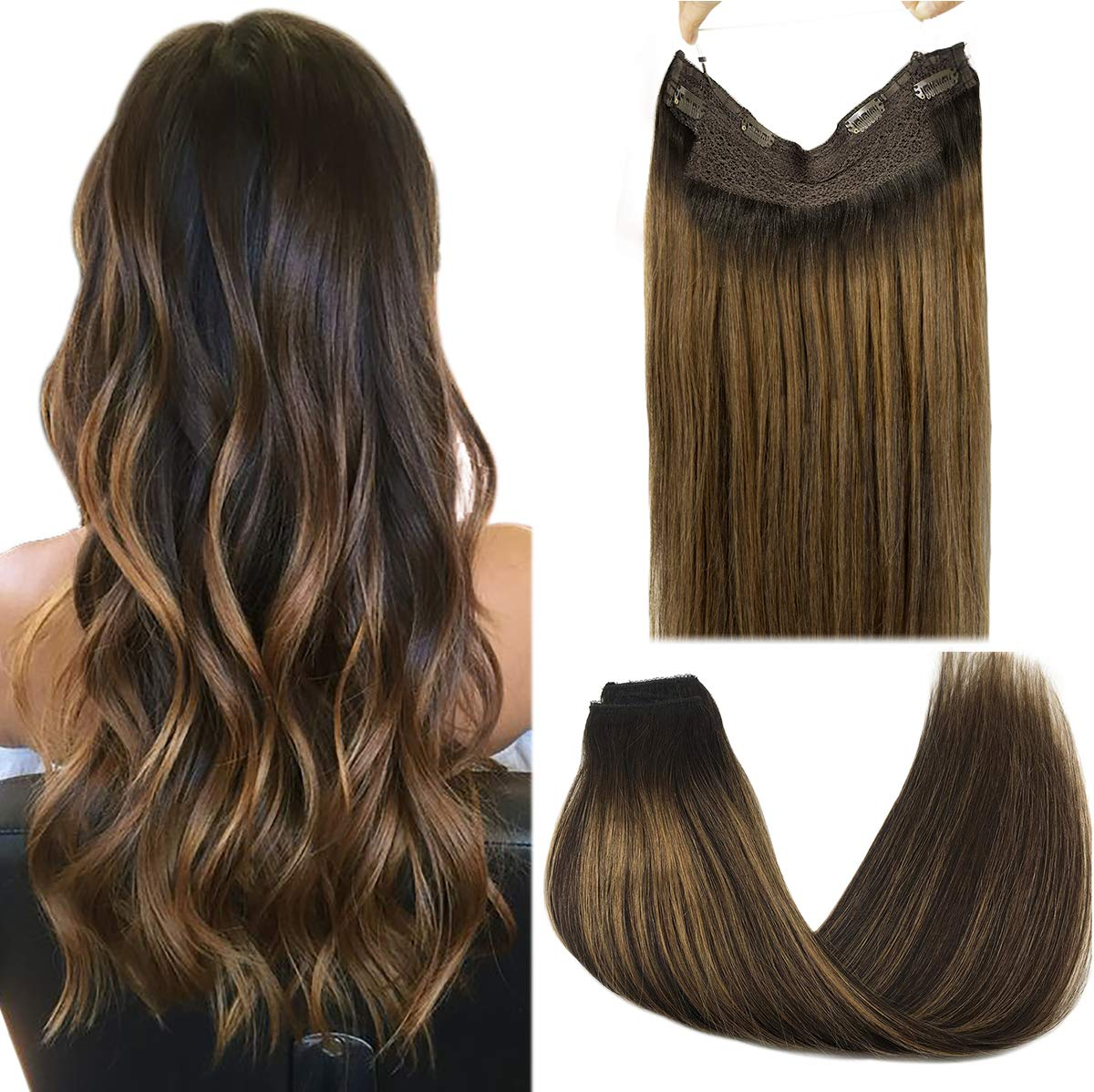 Fish Line Human Hair Extension Halo Hair Extensions Straight  Invisible Wire Hair Extensions Remy Hair Fishing Wire with 4Clips