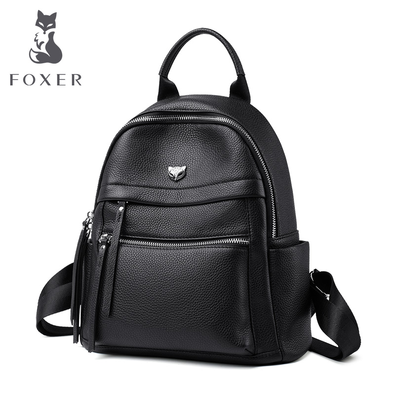 FOXER Fashion Businesswomen Commuter Style Backpack Female Big Capacity Backpack Laptop For Teenagers Leather Lady Travel Bags