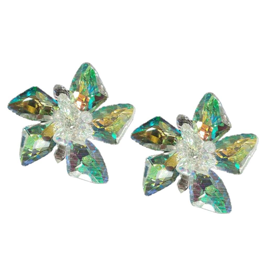2x Crystal Shoe Charm Buckle Detachable Shoe Clip Flower Wedding Shoe Decor