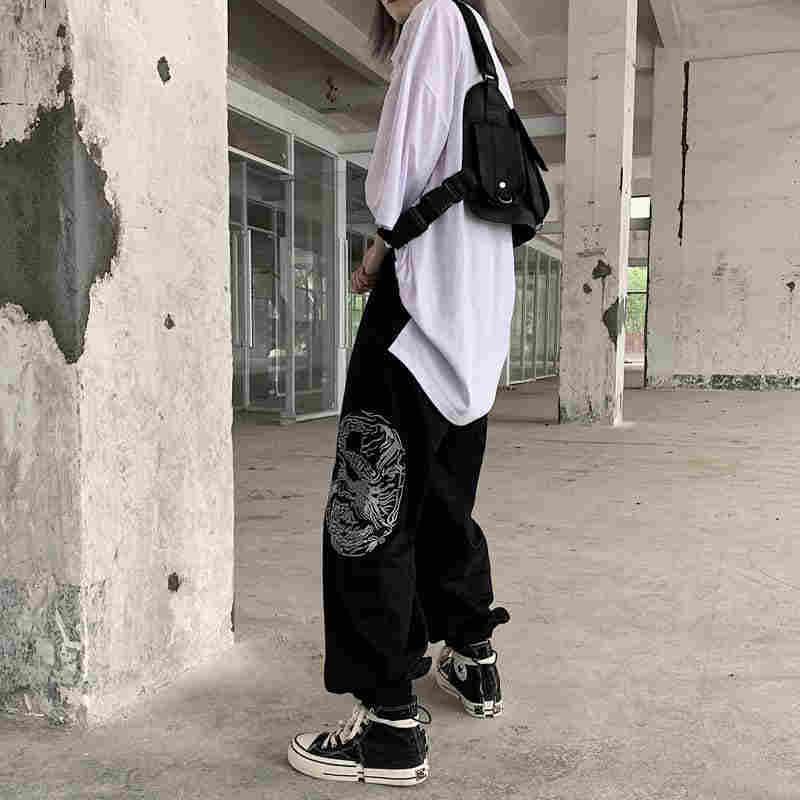 سراويل نسائية من NiceMix هاراجوكو مُطرزة على شكل التنين سراويل هيب هوب فضفاضة عالية الخصر للسيدات موضة جديدة لعام 2019 ملابس غير رسمية باللون الأسود