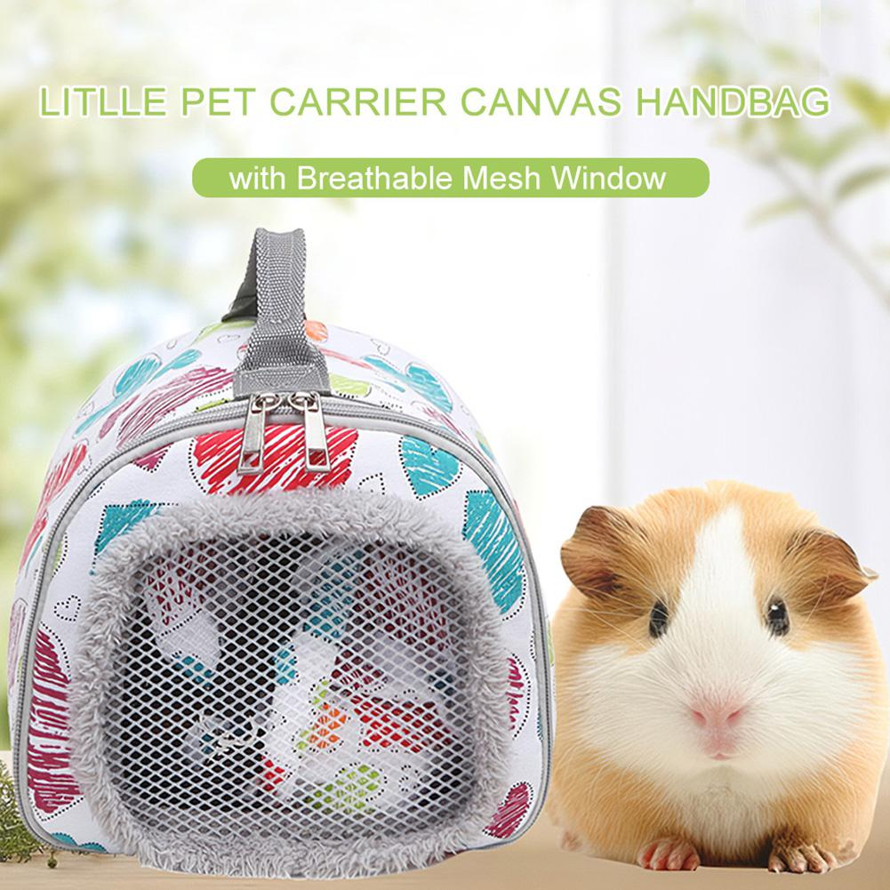 Hamster Carrier Guinea Pig Carrier Hedgehog Carrier Bag Squirrel Rabbit Portable Travel Bag Breathable Mesh Window 21x20x20cm