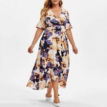 Kwiatowa Sukienka o nieregularnym kroju damska Casual Boho drukuj z krótkim rękawem wzburzyć letnie sukienki Kleider Damen Plus rozmiar kobieca Sukienka Sukienka