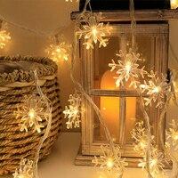 Copo de nieve de luz LED de cadena adornos navideños para el hogar colgante de Garland, decoración del árbol de Navidad adorno 2021 navidad regalo Año Nuevo