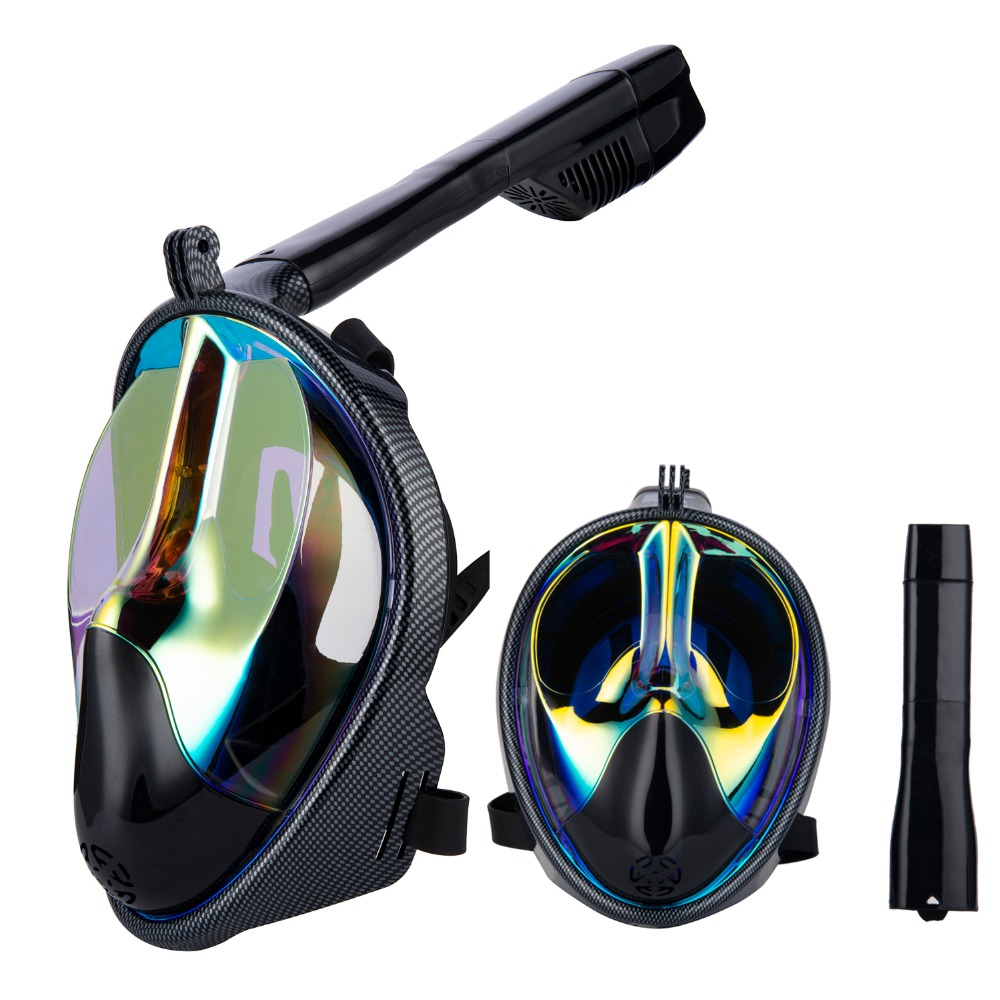 2018 New Full Face Anti-fog Snorkeling Diving Mask Adult  Anti-skid Ring Snorkel Scuba  Snorkel Masks Carbon Fiber 180 View