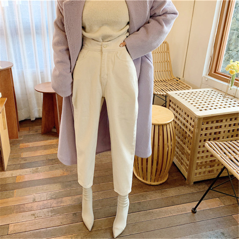 HziriP Milky White Chic Ankle-Length Cross Pants 2020 Woman Casual Solid High Waist Streetwear High Quality Jeans Denim Pants