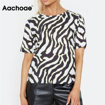 Aachoae Women Summer T shirt 2020 Zebra Print Short Sleeve T-shirt Casual Loose Tops Tees Sexy Streetwear Tshirts Camisas Mujer - discount item  45% OFF Tops & Tees