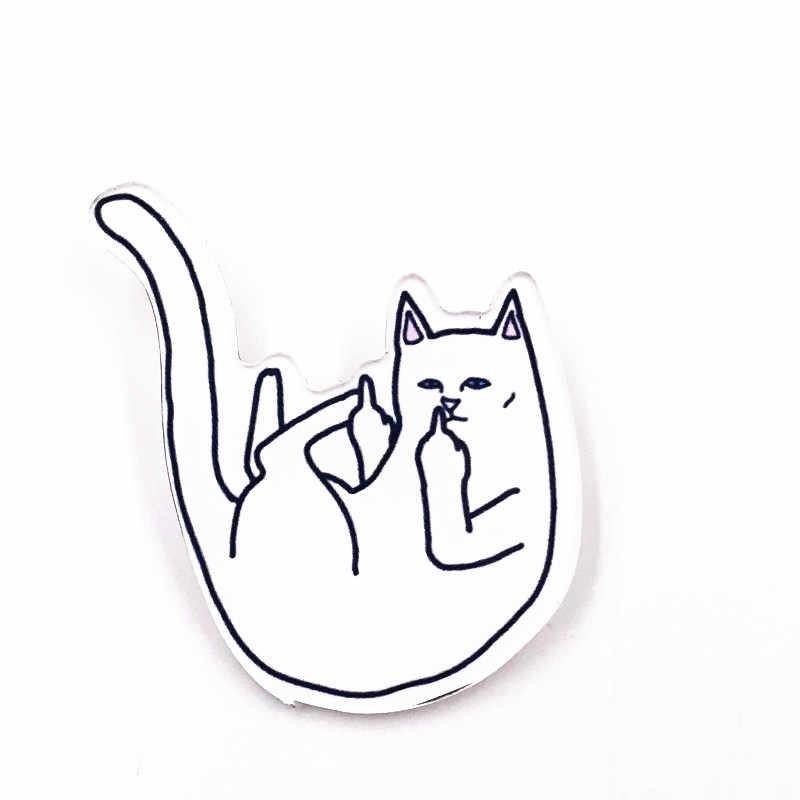 Kartun Ikon 1Pcs Jari Tengah Kucing Pin Kerah Pin Akrilik Lencana Bros DIY Ransel Topi Aksesoris Wanita Anak Lucu hadiah