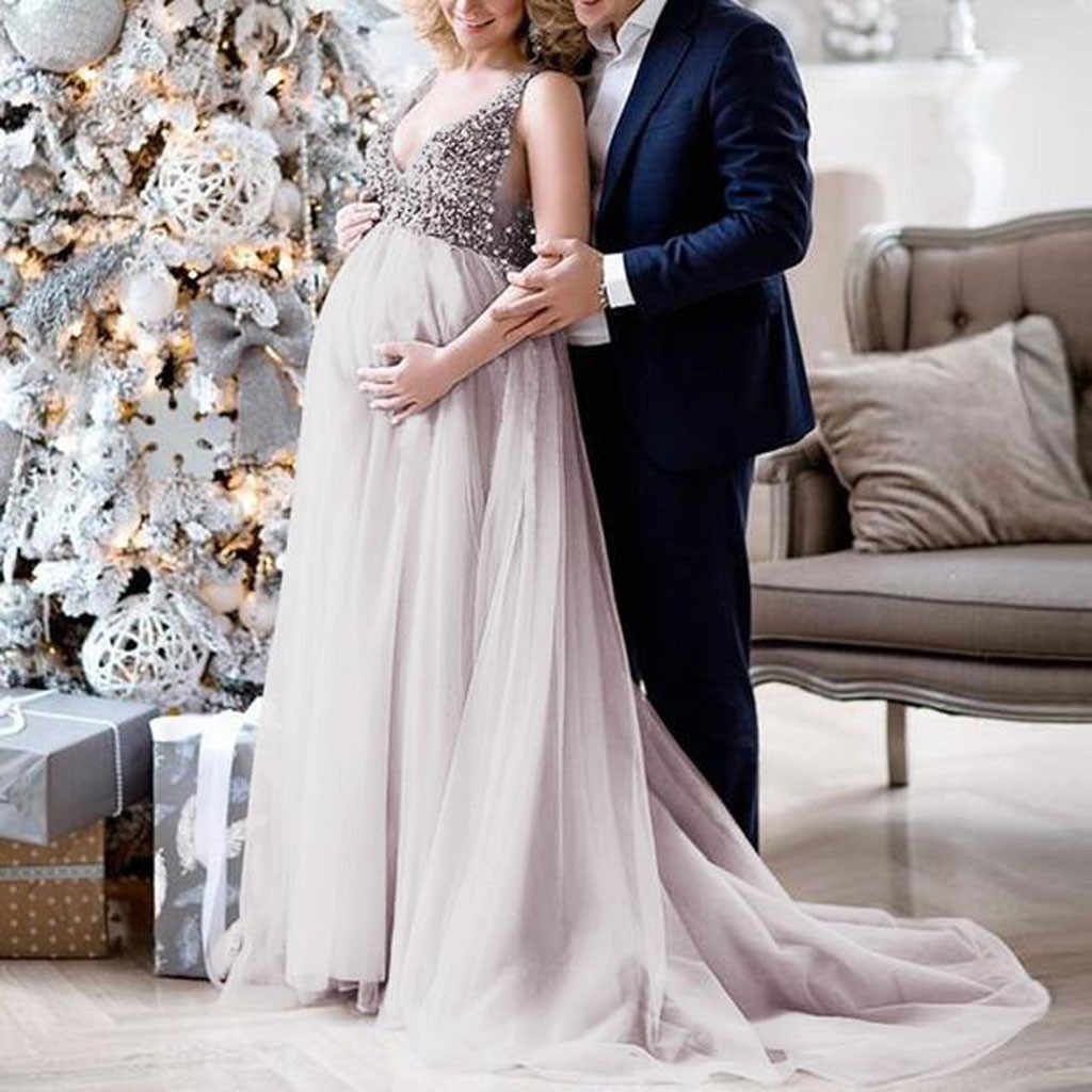 Maternity dresses Sexy Women Pregnant Sling V Neck Sequin Party Gown Pregnancy Dress Art Photo Dress wedding dress maternity