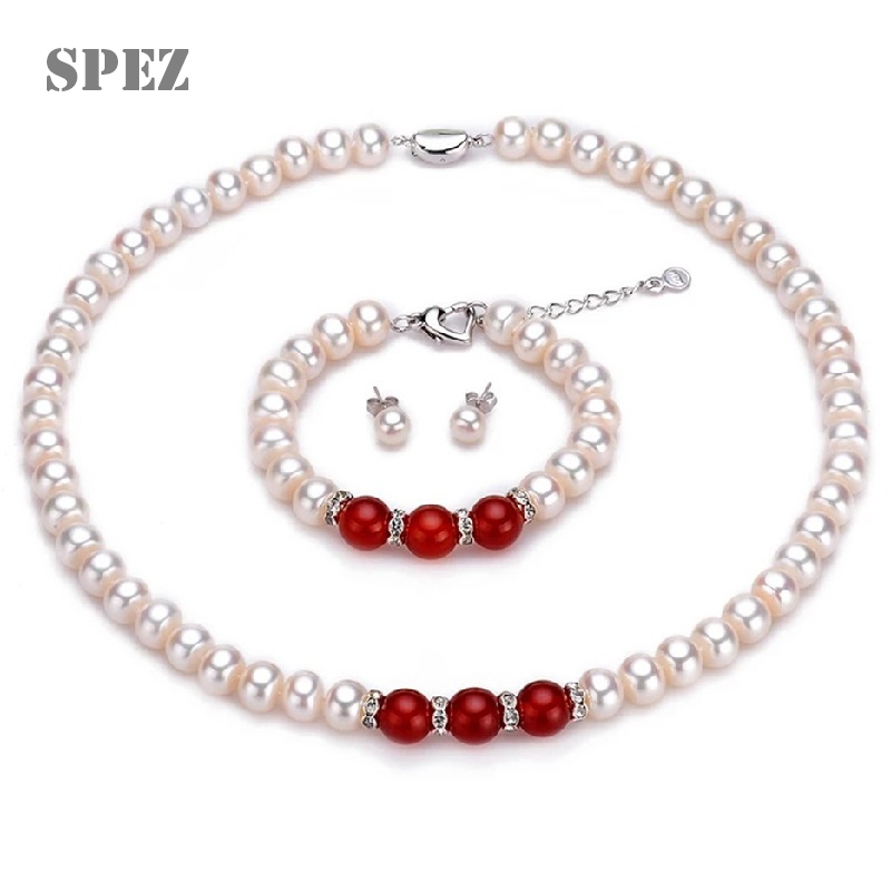 2019 Fashion Necklace Pearl Jewelry Set Natural Freshwater Pearl 925 Sterling Silver Bracelet Earrings Necklace For Women