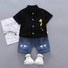 summer Children Casual Clothes suit Baby Boy Girls Cartoon T-Shirts Denim shorts 2Pcs/set Toddler Cotton Clothing Kids Tracksuit 2018 summer children clothing baby boy fashion cotton sleeveless star print top denim shorts baby boys clothing suit 2pcs s2