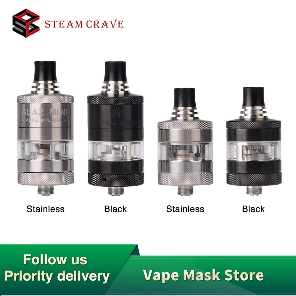 Original Steam Crave Glaz Mini RTA 2ml/5ml E-cig Tank With Single Coil Deck & Unique Airflow System 22mm RTA Vs Zeus X/Manta RTA