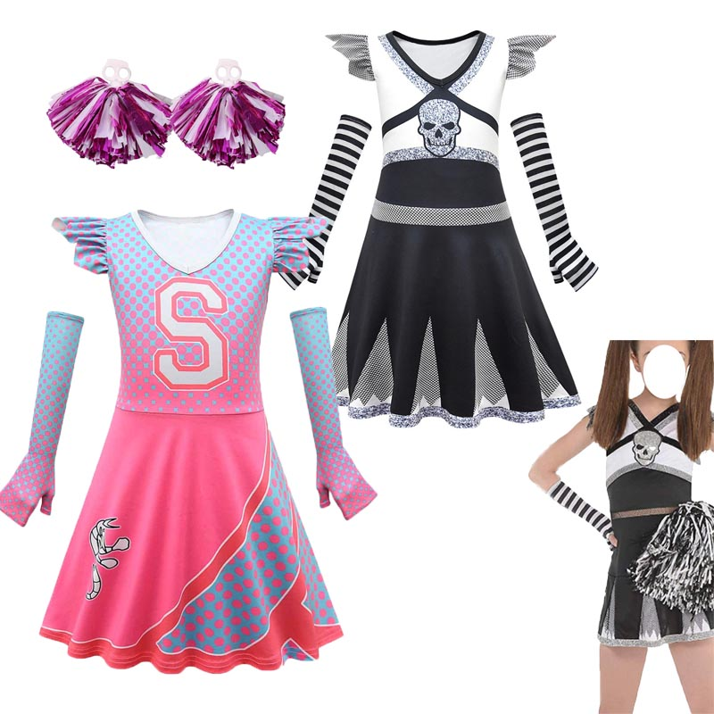 Kids Zombies 2 Addison Cosplay Carnival Halloween Skeleton Costume for Girls Fancy Dress Cheerleader Outfits Funny Party Clothes