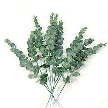 Simulación de eucalipto, rama de hojas, plantas verdes, flor falsa Artificial para boda, utilería de tiro, decoración del hogar, guirnalda artesanal