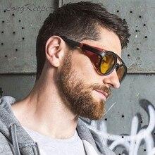 LongKeeper 2020 New Retro Vintage Round Punk Steampunk Sunglasses For Men Leather Side Shield Women Sun Glasses 1915