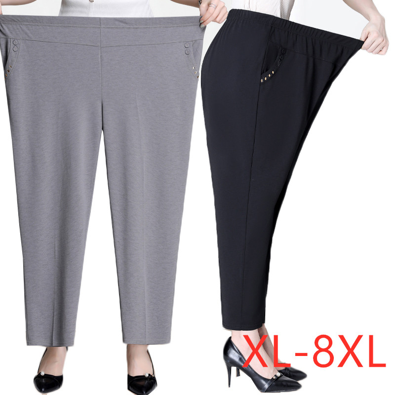 Plus size 5XL 6XL 7XL 8XL Women Summer Pants New Solid Elastic Waist Casual Pants Middle-aged Mother Pants Loose Straight Pants