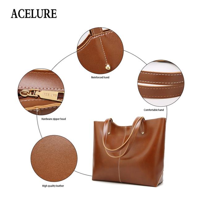 ACELURE Oil Wax Leather Women's Tote Large-capacity Women shoulder bag Classic Casual Tote bags for women  bolsa feminina