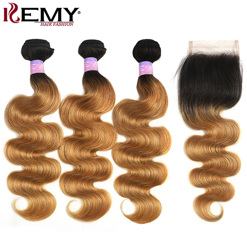 Ombre Blonde Human Hair Bundles With Closure 4x4 KEMY HAIR 1B/27 Brazilian Body Wave Hair Weave Bundles With Closure Non-Remy
