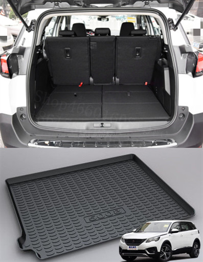 Puou Non-Slip Waterproof For Peugeot 5008 2017-19 Mat Rear Trunk Liner Cargo Floor Tray Carpet Guard Protector Car Accessorie