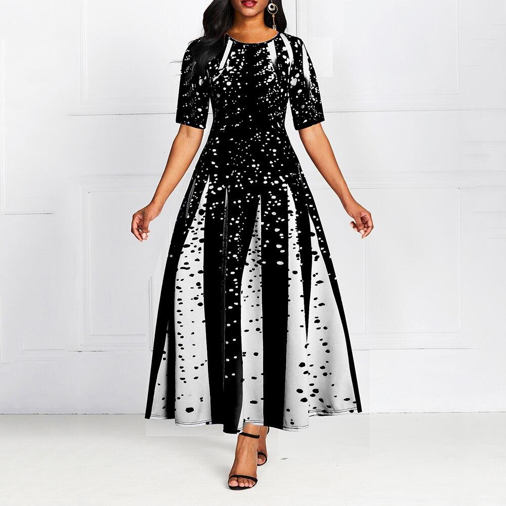 Digital Print Women Ball Gown Dress Half Sleeve Summer New Elegant Party...