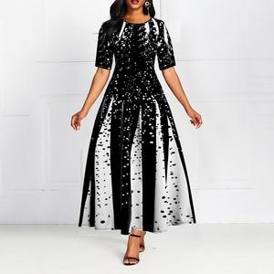 Digital Print Women Ball Gown Dress Half Sleeve Summer New Elegant Party Dress Female Big Size 5XL Long Maxi Dresses Robe Femme
