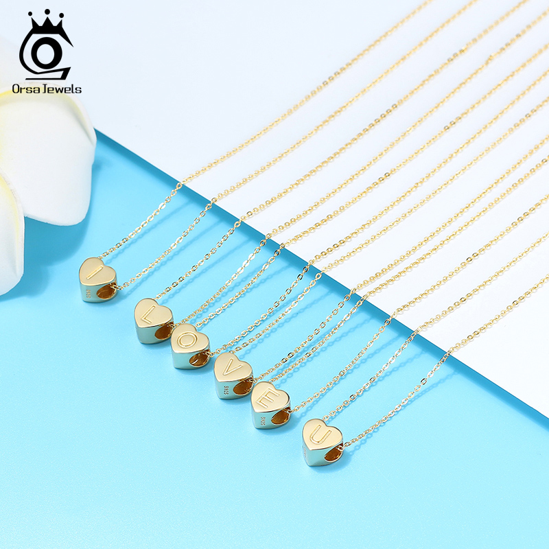 ORSA JEWELS S925 Sterling Silver Letters Necklaces Gold Plated Heart Beads Lucky 26 Letters DIY Necklace Jewelry Girl Gift SCB31