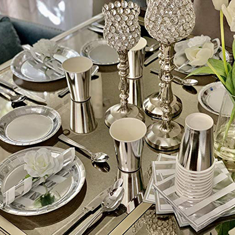 Children's Paper Cutlery Plate Cup Sterling Silver Rave Party Wedding Birthday Decoration Kids