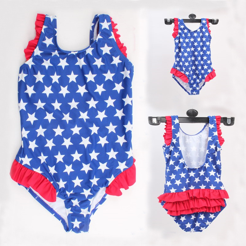 Baby Swimsuit Top Grade Children Five-pointed Star Printed Swimwear 2-6-Year-Old Baby One-piece Swimming Suit Factory Special Of