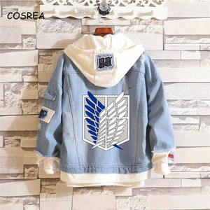 Anime Shingeki No Kyojin Attack on Titan Coat Jeans Jacket Scout Regiment Cosplay Denim Jacket Hooded Sweatshirt Outwear Coat