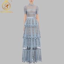 Женское Новое Платье «Автопортрет» цветочное кружевное открытое длинное платье с вышивкой Элегантные вечерние платья