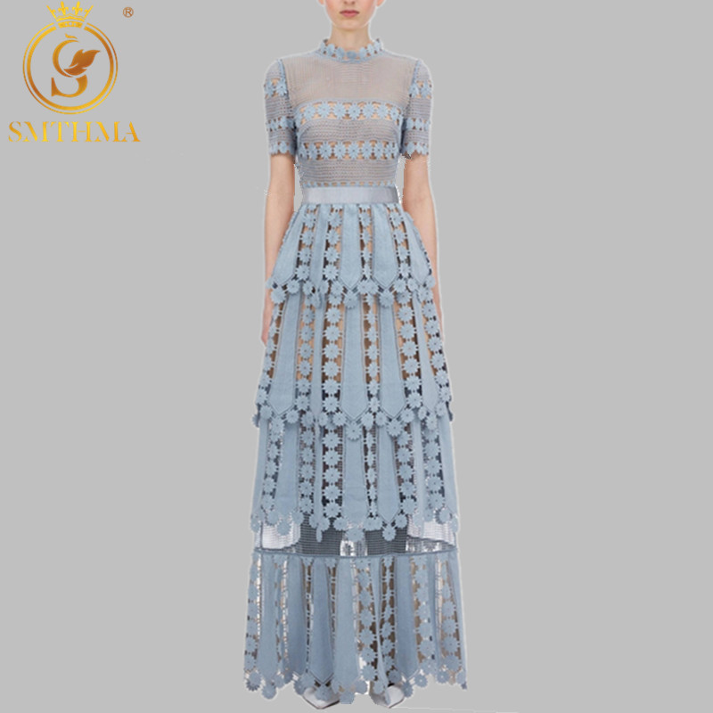 SMTHMA New Women's Self-portrait Dress Floral Lace Hollow Out Embroidery Long Dress Elegant Formal Party Dresses