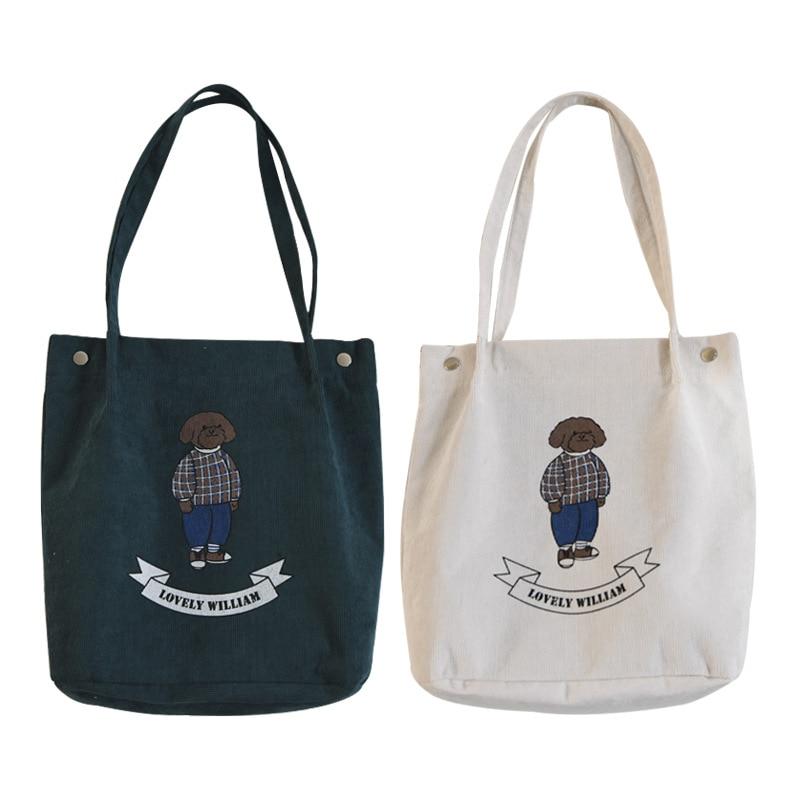 Corduroy eco sacola de compras ombro impressão urso 5 cores para escolher cy