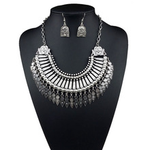 Statement Jewelry Sets for Women Vintage Antique Silver Color African Indian Choker Necklace Earrings