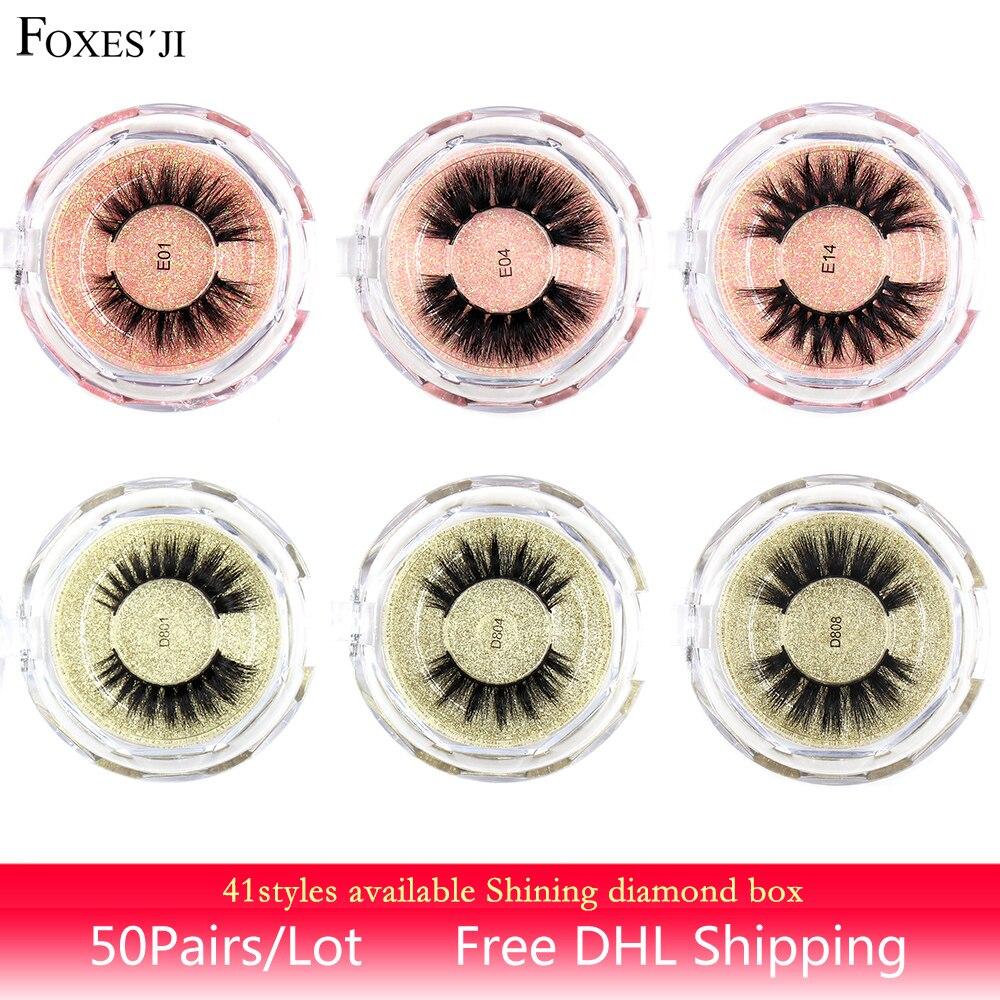 FOXESJI 50pairs Mink Lashes 3D False Eyelashes Cross Thick Fluffy Natural Real Mink Hair Eye Lashes Eyelash Extension Makeup