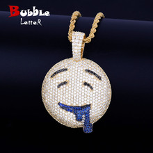 Kwijlen Ronde Gezicht Hanger Met Tennis Chain Gouden Kleur Charme Bling Kubieke Zirkoon Mannen Hip Hop Ketting Rock Sieraden