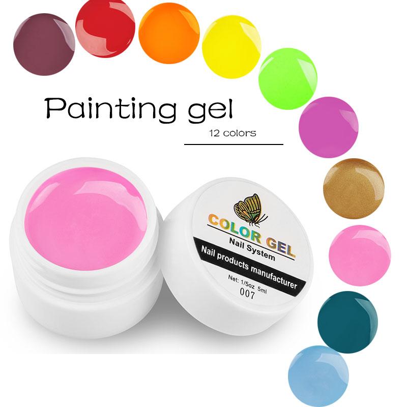 Lghzlink Nail Art Tips Design Manicure 12 Color Gel Lak Soak Off DIY Pink Pure color UV Gel Varnish Nail Gel Polish Paint Gel