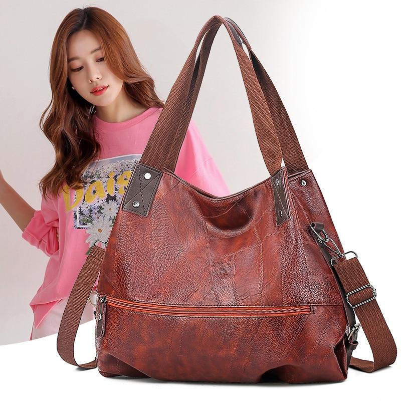 Большие женские сумки на плечо, женская большая сумка-хобо, Роскошная сумочка с верхней ручкой для женщин, ретро выгодная кожаная повседнев...