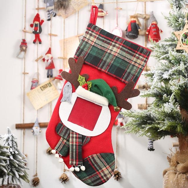 Christmas Stockings Socks Santa Claus Plaid Big Hangingcandy Gift Bag Party Supplies Decoration For Home Pendant Gifts Wholesa 3