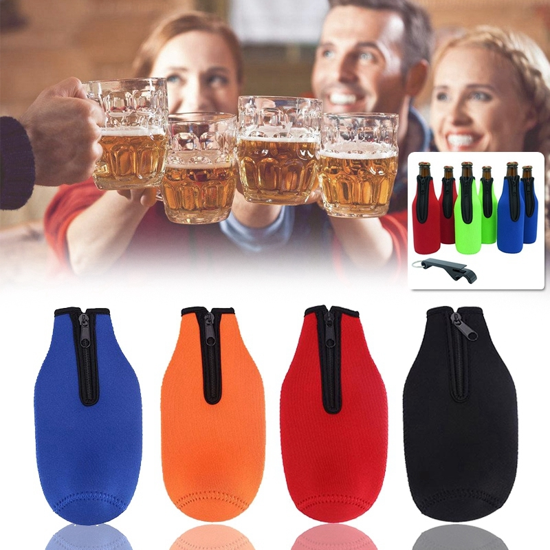 330ml Beer Bottle Cooler Insulated Cover for Party Accessory Neoprene Black