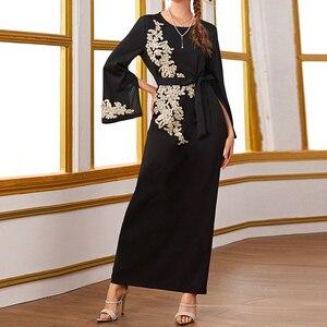 Image 4 - Abaya dubai turquia muçulmano hijab vestido kaftan americano islâmico roupas abayas vestidos para mulheres robe musulman femme vestidos