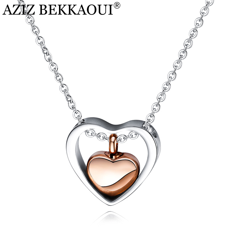 AZIZ BEKKAOUI Rose Gold Double Heart Stainless Steel Cremation Jewelry Hold Loved Ones Ashes Keepsake Cremation Urn Necklace