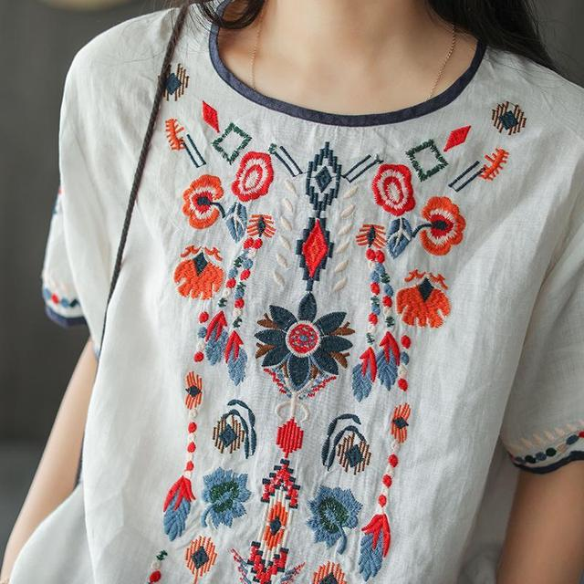 New Embroidered Tshirt Cotton And Hemp Top Women's Summer Korean Version Short Sleeve Literature And Art Leisure Pullover Shirts 6