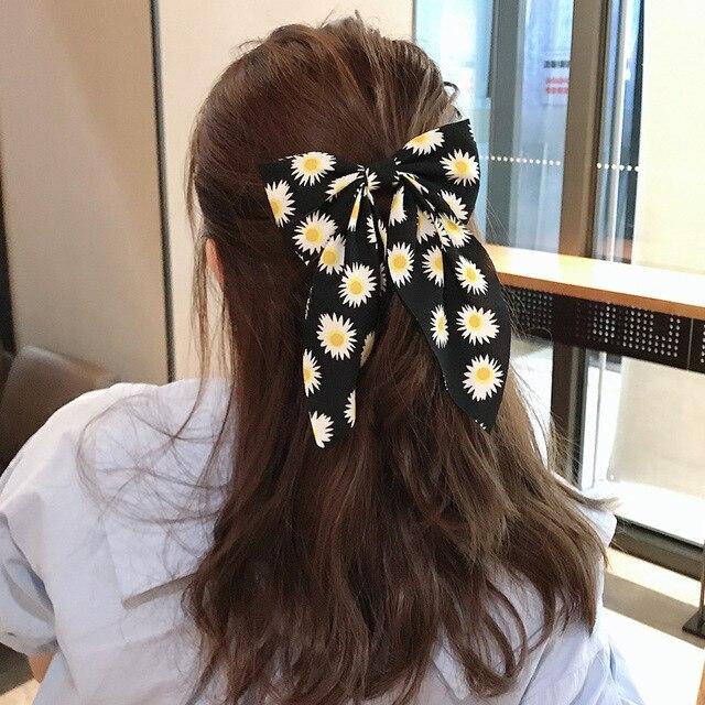 Фото новинка корейский большой бант шпилька для волос подсолнух ласточка