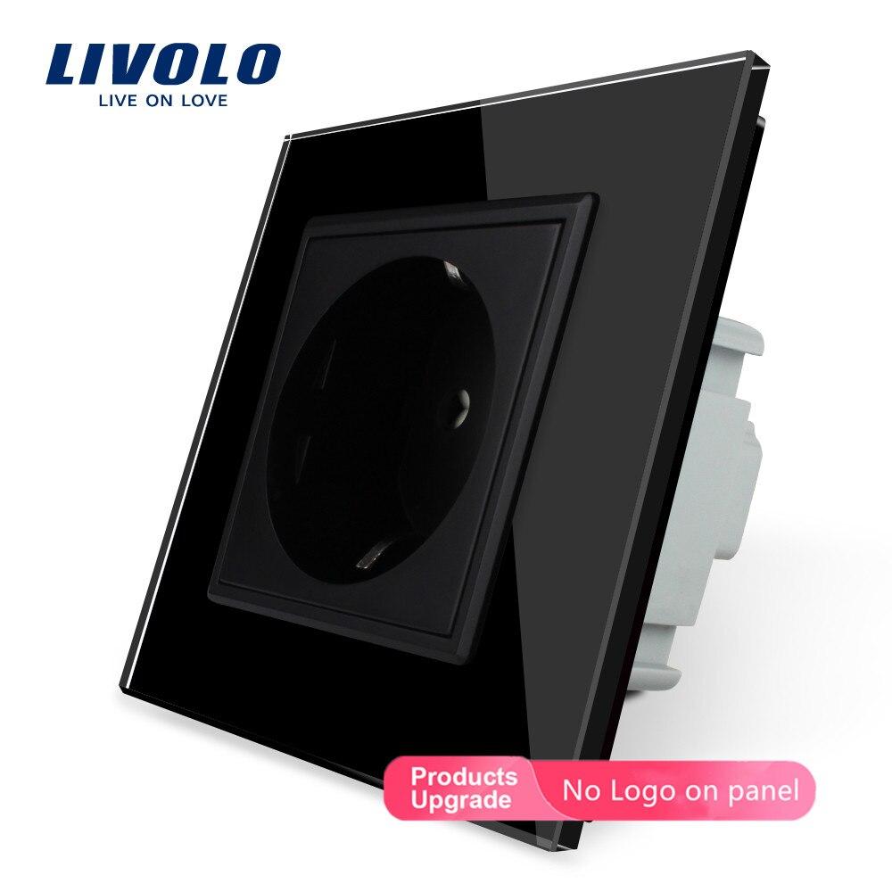 Бесплатная доставка, розетка Livolo EU, черная панель из хрустального стекла, 16 А, розетка стандарта ЕС без штепсельной вилки, для штепсельной ви...