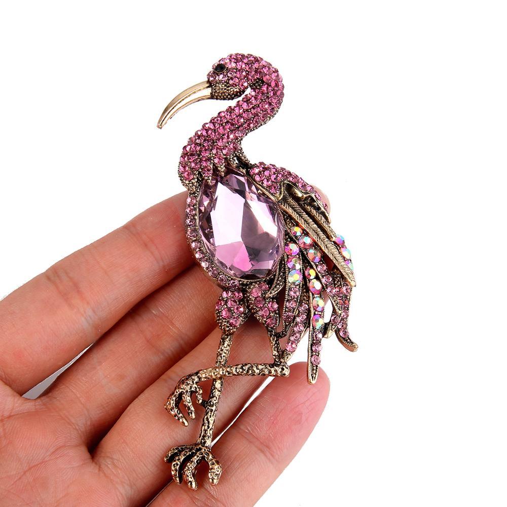 Vintage Purple Flamingos Bird Brooch Pendant Rhinestone Crystal Woman Jewelry