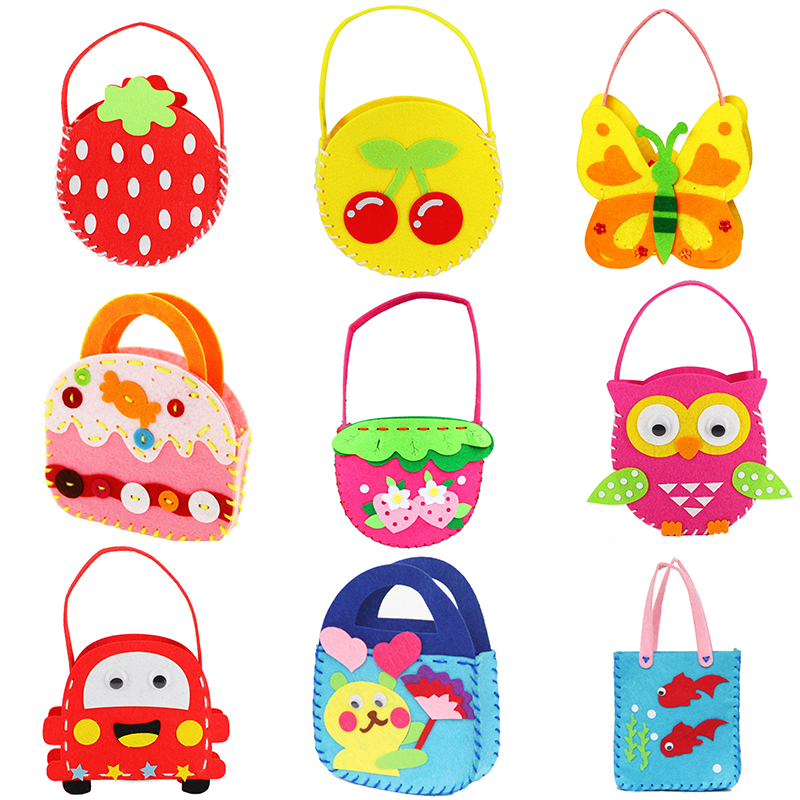 1pcs DIY Applique Bag Kids Children Handmade Montessori Toys Non-woven Cloth Cartoon Animal Flower Bag Craft Art Craft Gift