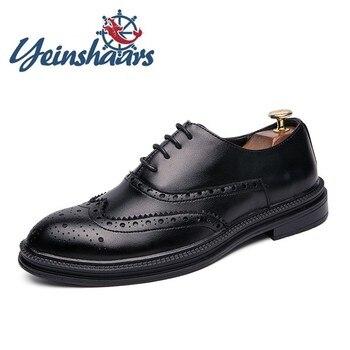 Brogue-Zapatos informales de cuero para Hombre, calzado Formal, cómodo, de negocios, Oxford,...
