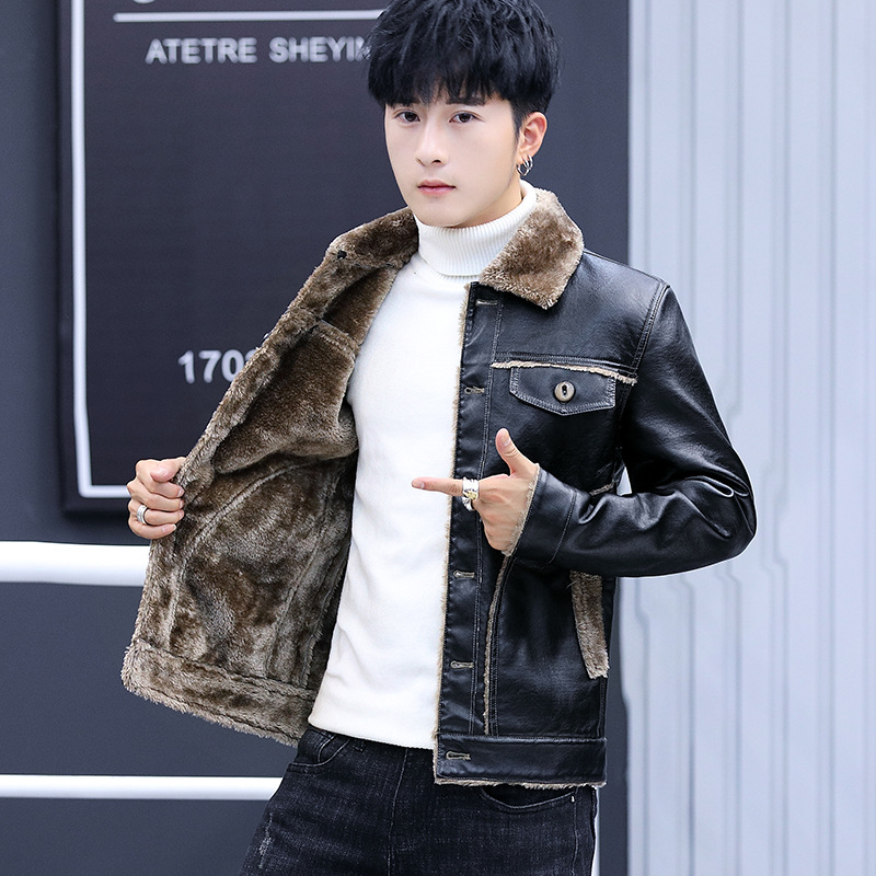 2020 new men's cultivate one's morality winter motorcycle leather jackets youth add hair thickening fashion leisure leather 8XL 28