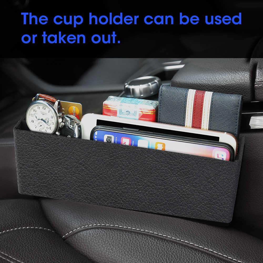 Araba koltuğu çatlak saklama kutusu yuvası çok fonksiyonlu organizatör araba katlanabilir kapitone bardak tutucu araba iç aksesuarları araba depolama